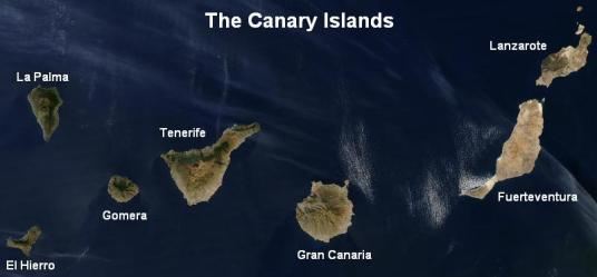 Canary Islands Satellite View - Cropped from NASA's Visible Earth